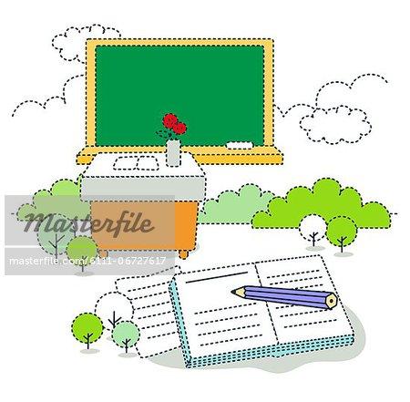 Illustration of book and desk against blackboard