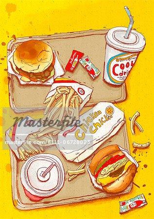 Illustration of French fries and hamburger