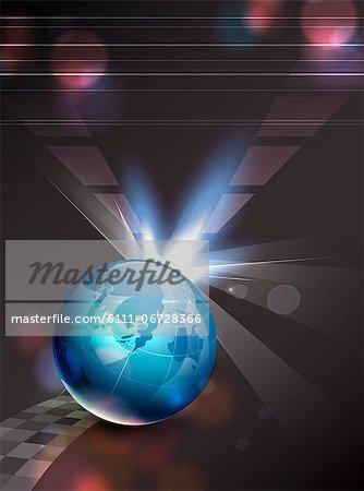 Globe with illuminated background