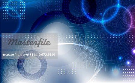 Illuminated background with blue circles