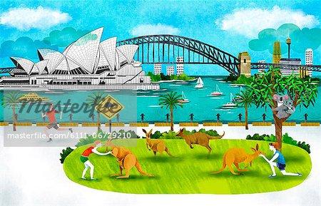 Australia, New South Wales, Sydney, Opera House And Harbor Bridge