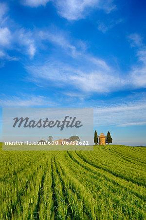 Chapel of Vitaleta and Farmhouse with Cypress Trees in green field. Chapel of Vitaleta, Val d´Orcia, Siena Province, Tuscany, Italy.