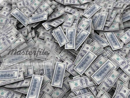 3d illustration of big money heap background