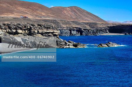 Caleta Negra, a black sand beach in Ajuy, Fuerteventura, Canary Islands, Spain