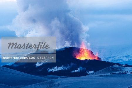 Eruption of Eyjafjallajokull Volcano, Fimmvorduhals Pass, Iceland