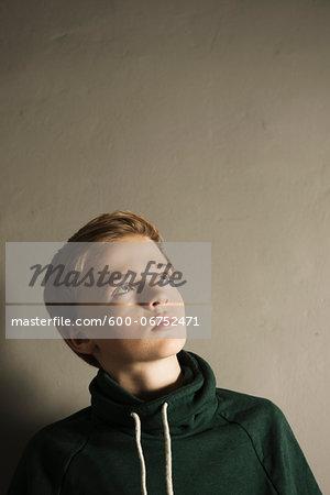 Head and Shoulder Portrait of Boy, Studio Shot