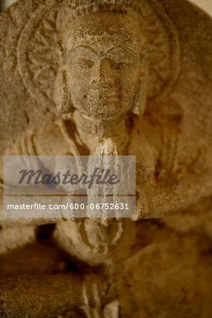 Close-up of Elephanta Caves, carved out of rock, Elephanta Island (Gharapuri, city of caves), India.