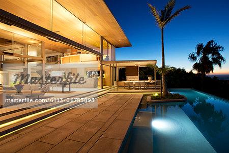 Infinity pool and modern patio