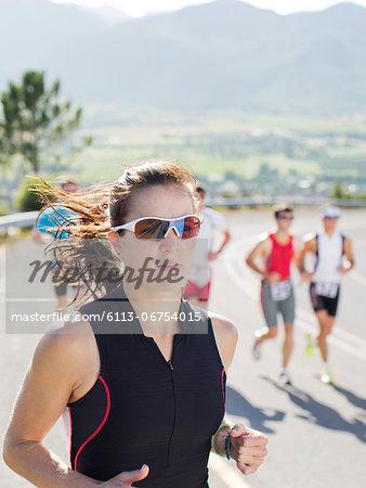 Runner in race on rural road