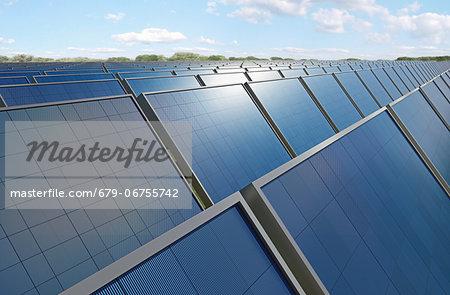 Solar panels, computer artwork.