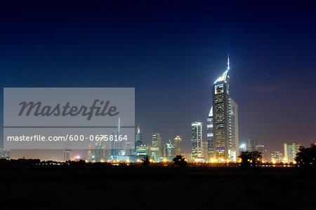 Skyline at Night, Dubai, United Arab Emirates