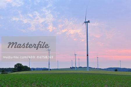 Wind Turbines on Wind Farm, Retzbach, Franconia, Bavaria, Germany
