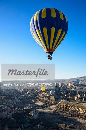 Turkey, Central Anatolia, Cappadocia, Goreme, Hot Air Balloon Tours over Valley