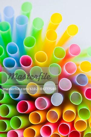 Studio shot of colorful drinking straws
