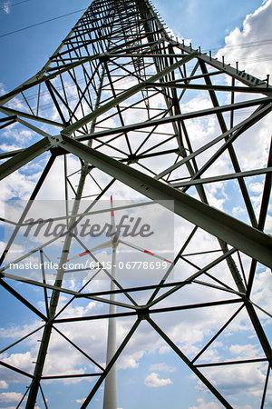Wind Turbine And Electricity Pylon, Dessau, Germany, Europe
