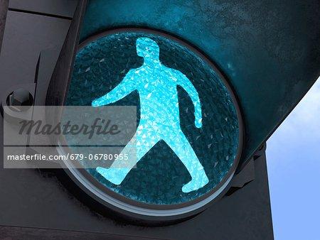 Green pedestrian light, computer artwork.