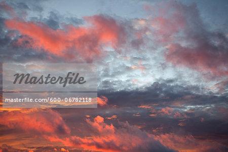 Sunset sky over the Atlantic Ocean