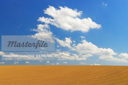 Field and Cloudy sky, Springtime, Hesse, Germany
