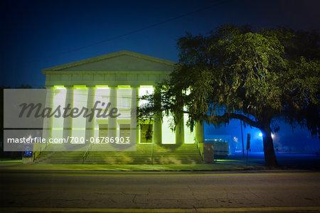 Bull Street Baptist Church at Night, Savannah, Georgia