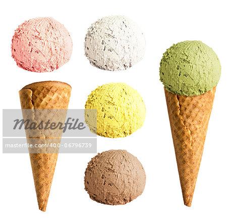 ice cream cone set isolated