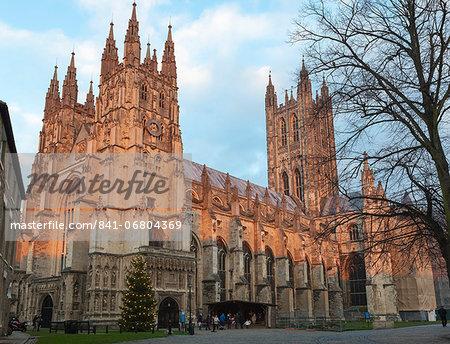 Canterbury Cathedral, UNESCO World Heritage Site, with nativity diorama at dusk, Canterbury, Kent, England, United Kingdom, Europe
