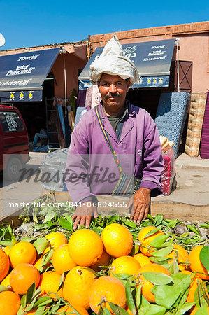 Orange seller, Marrakech (Marrakesh), Morocco, North Africa, Africa