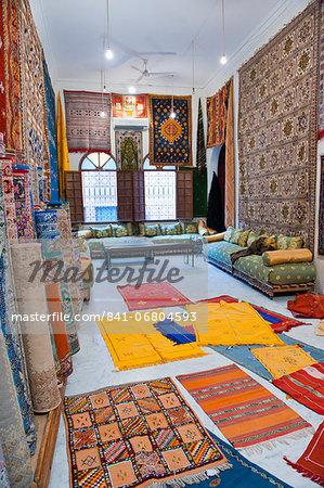 Carpet shop in Marrakech souks, Morocco, North Africa, Africa
