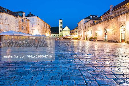 St. Stephens Cathedral in St. Stephens Square at night, Hvar Town, Hvar Island, Dalmatian Coast, Croatia, Europe
