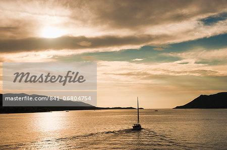 Sailing boat at sunset on the Dalmatian Coast, Adriatic, Croatia, Europe