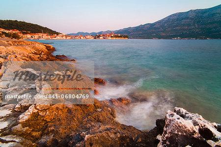 Korcula Town at sunrise, Korcula Island, Dalmatian Coast, Adriatic, Croatia, Europe