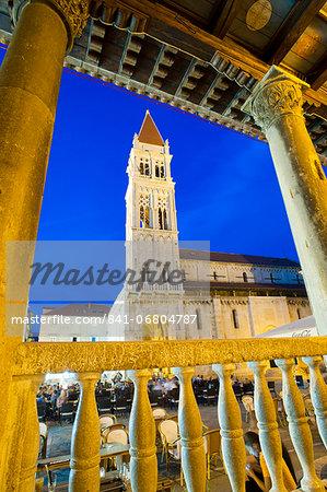 St. Lawrence Cathedral at night, Trogir, Dalmatian Coast, Croatia, Europe