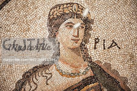 Soteria Roman mosaic, 5th cent AD, Hatay Archaeology Museum, Antioch, Hatay province, Southwest Turkey, Anatolia, Turkey, Asia Minor, Eurasia