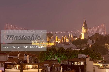 Topkapi Palace and Bosphorus bridge at night, Istanbul, Turkey, Europe