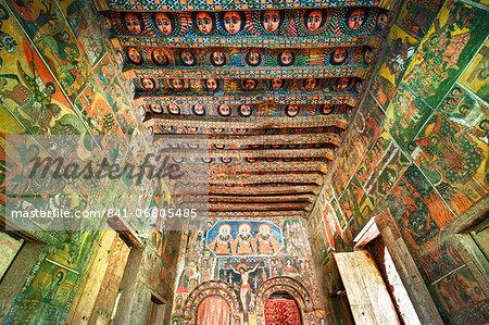 Ancient wall paintings in the interior of the Debre Birhan Selassie Church, Gondar, Ethiopia, Africa