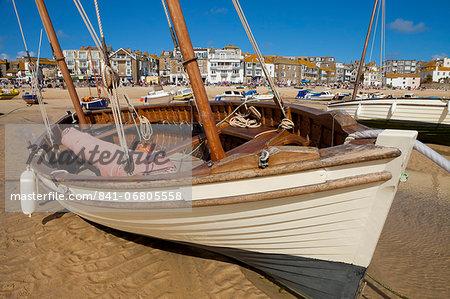 Boat on beach, St. Ives, Cornwall, England, United Kingdom, Europe