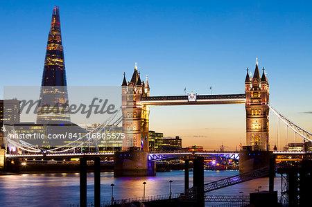 The Shard and Tower Bridge at night, London, England, United Kingdom, Europe