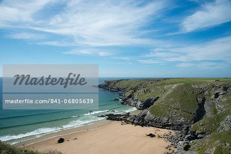 Porthcothan Beach and surrounding cliffs, Cornwall, England, United Kingdom, Europe