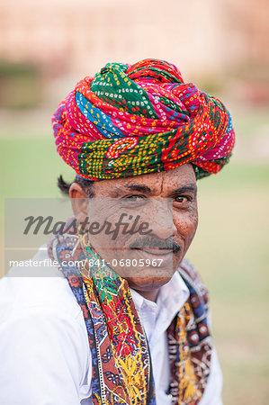 Man in colored head wear, Jodhpur, Rajasthan, India, Asia