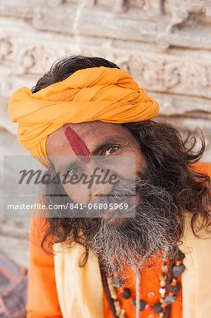 Man with orange head wear, Jodhpur, Rajasthan, India, Asia