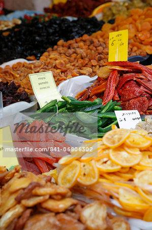Food on a stall in Shuk HaCarmel market, Tel Aviv, Israel, Middle East