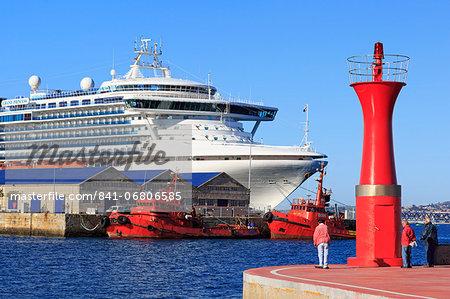 Marina lighthouse and cruise ship, Vigo, Galicia, Spain, Europe