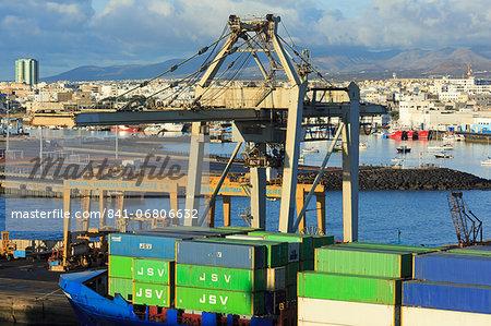 Conatiner ship in the Port of Marmoles, Arrecife, Lanzarote Island, Canary Islands, Spain, Atlantic, Europe