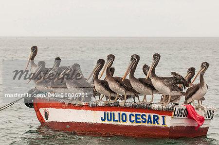 Fishing boats in Los Organos village near Mancora, Peru, South America