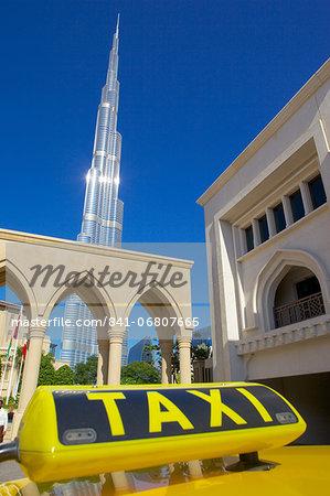 Burj Khalifa and taxi, Dubai, United Arab Emirates, Middle East