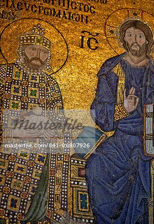 Mosaic of Emperor Constantine IX Monomachos, Hagia Sophia, UNESCO World Heritage Site, Istanbul, Turkey, Europe, Eurasia