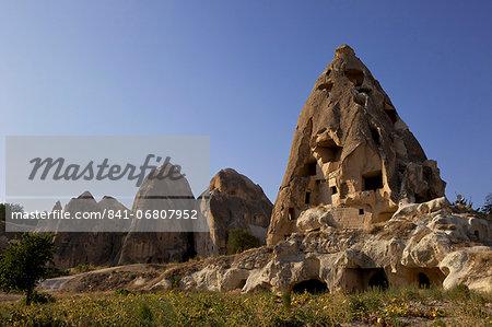 Fairy Chimneys rock formation landscape near Goreme, in Cappadocia, Turkey