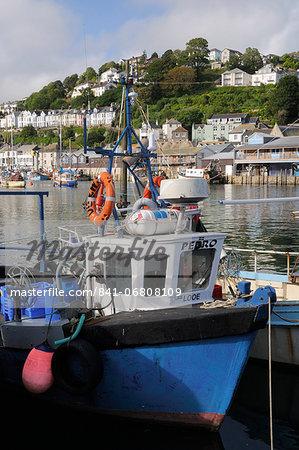 Fishing boats moored in Looe harbour, Cornwall, England, United Kingdom, Europe