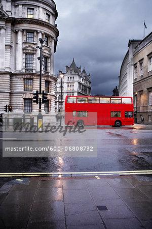 Double-decker Bus on Rainy Day, London, England