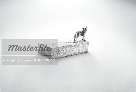wolf figurine on ice floe in cinder block