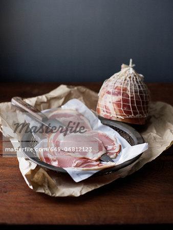Slices of pancetta